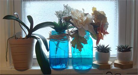 Windowsill Decor - Plants, Jars, Flowers