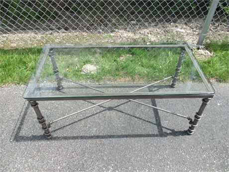 """New Modern Antiqued Pewter Smoked Glass 40"""" Coffee Table"""