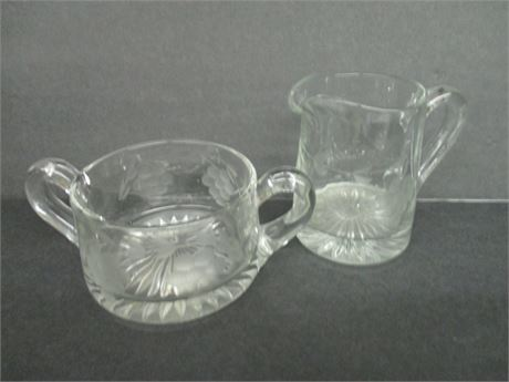 "2 Pcs 4"" Grape Pattern Cut Glass Cream Pitcher & Sugar Bowl"