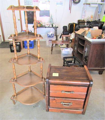 Wood Corner Curio Shelf and Pine Bedside Drawer Unit