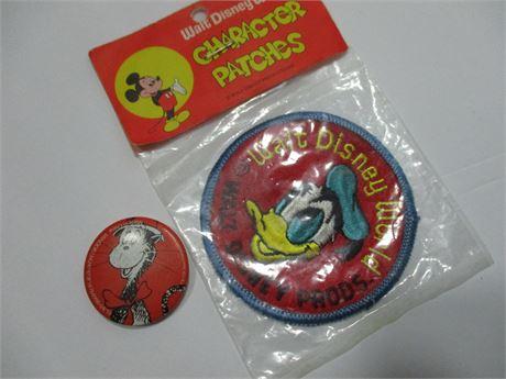 New Vintage Disney Donald Duck Patch & Dr Seuss Pin