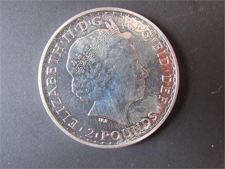 2016 Elizabeth II 1 OZ 999 Fine Silver Coin, 2 Pounds