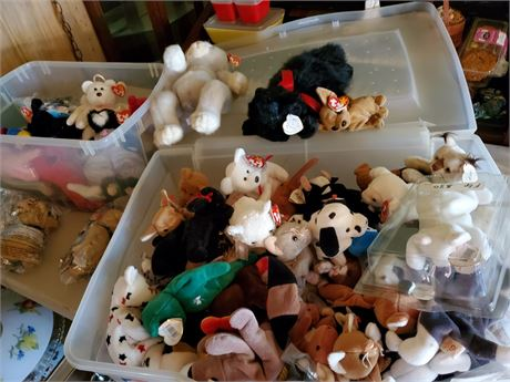 2 Totes Full of TY Beanie Babies