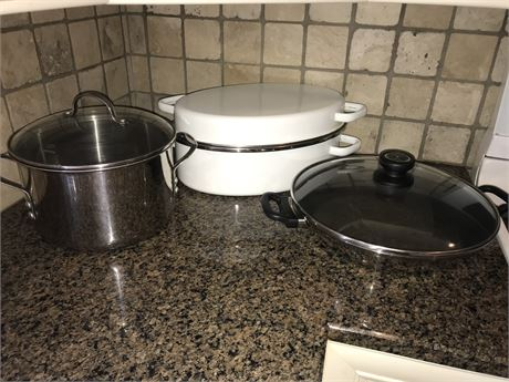 Three Pieces of Cookware including Calphalon and UltrexII