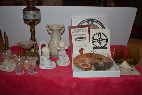 Frank Sinatra Plate (box and CoA)/Precious Moments/Vintage Glass Lamp and more