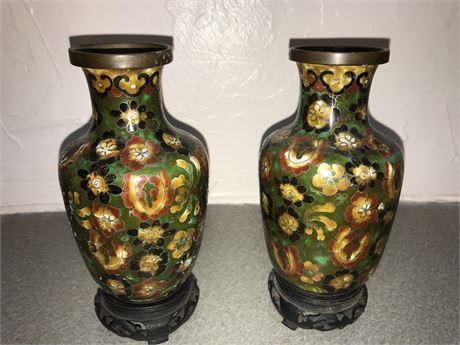 Pair of Antique Cloisonné Vases