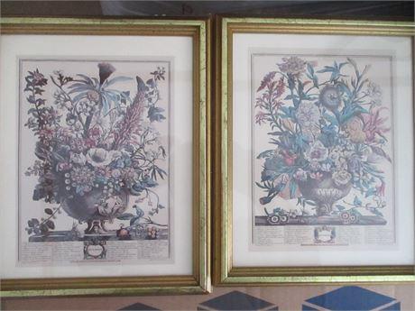 September & December Antique Art Reproduction Calendar Frame Pages