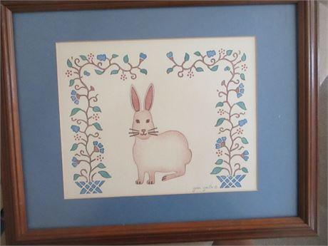 Genuine Jean Smith Child's Room Stenciled Bunny Art Picture