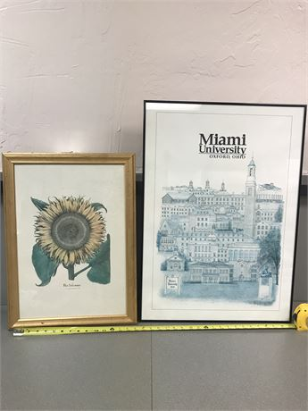Miami University Poster and Sunflower Print (both framed)