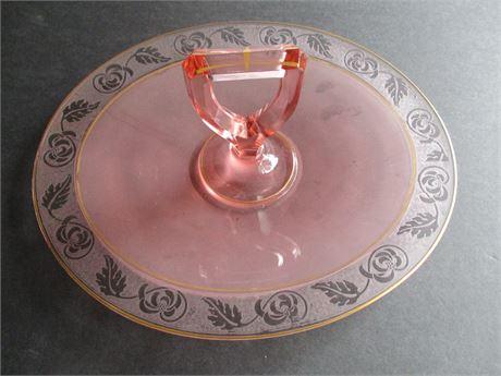 Vintage Rare Pink & Gold Clear Glass Oval Depression Dessert Dish w Handle