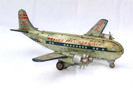 1950's Tin Friction Stratocruiser Boeing S Silver King Plane