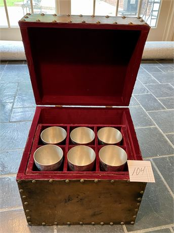 Pewter Jefferson Cups in Leather Covered Box (Set of 6 Cups)