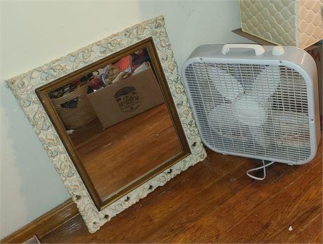 Large Mirror & Fan