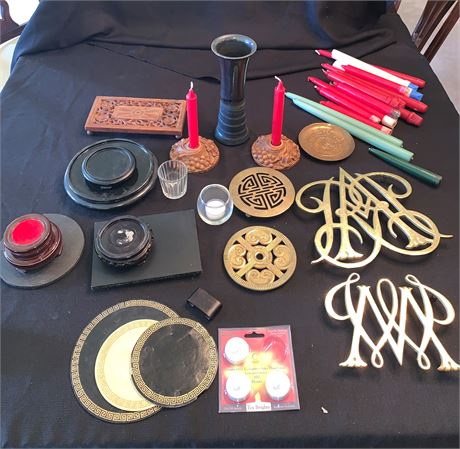Assorted Trivets and Taper Candles