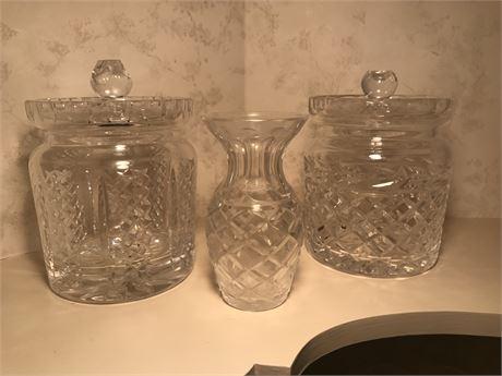 Waterford Ice Bucket/Biscuit Jar, Waterford Vase & Unmarked Ice Bucket/Biscuit