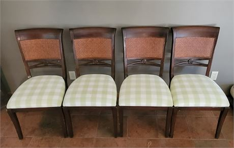 4 Rattan & Carved Wood Chairs - Vintage