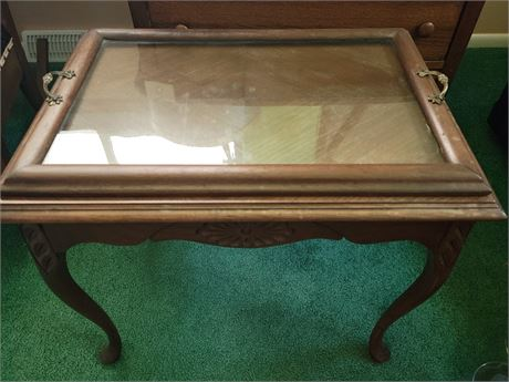Antique Side Table with Removable Tray
