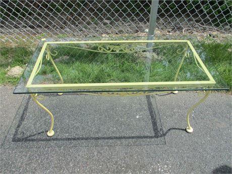 "Vintage 40"" Wrought Iron Glass Top Patio Rectangular Table"