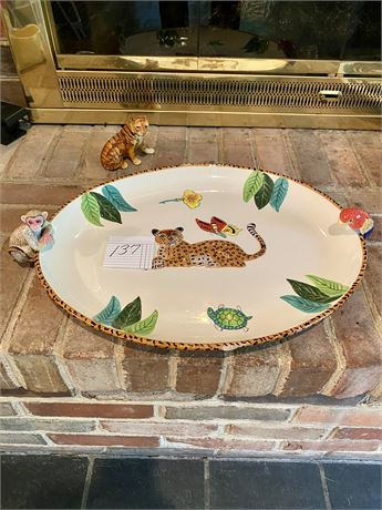 Lynn Chase Atelier Jungle Jubilee Platter/Tray and UCTCI Tiger Figurine