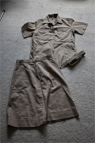 Women's US Army Khaki Uniform-shirt, skirt, belt