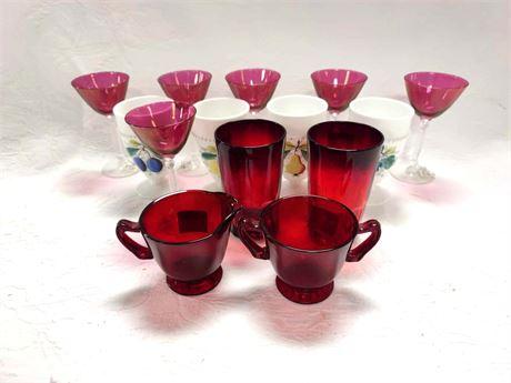 Vintage Cranberry Flash Martini Glasses Cream and Sugar Fairfax Glasses