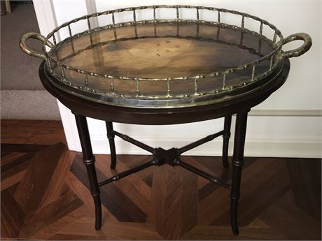 Oval Bamboo Style Teacart with Tray