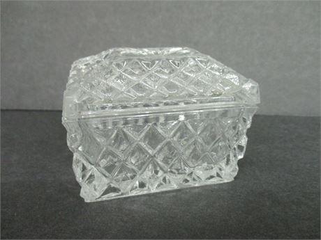 """Vintage 2 1/2"""" small Lidded Glass Keepsake Treasure Dish"""