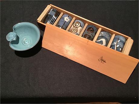 """Japanese Otagiri """"Happu"""" Folkware Tea Cups Set of 6"""