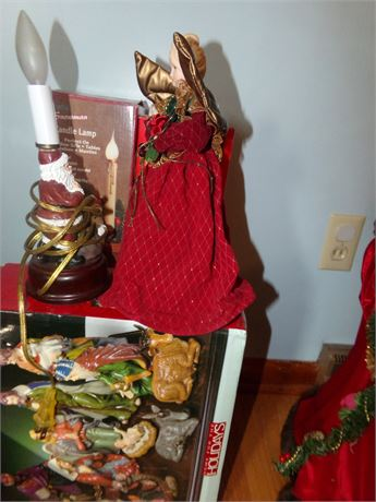 Nativity Set, Angels, Candle and Decorative Piece