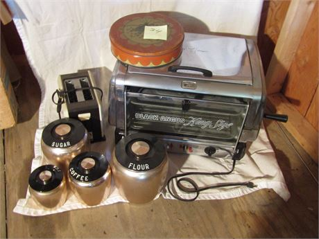 Black Angus Kind Size Routisserie, Vintage Canister Set, and More