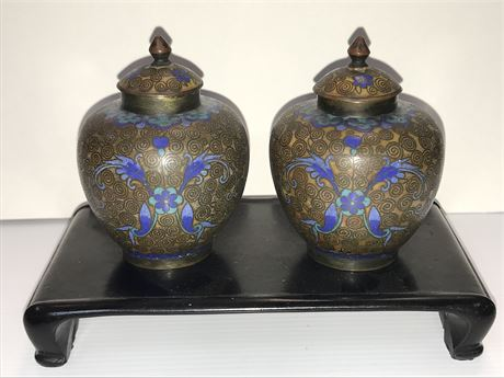 Set of 19th Century Cloisonné Inkwells on Wooden Stand