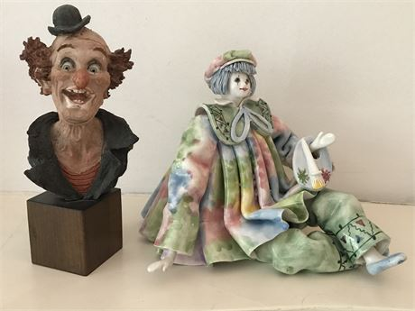 Two Signed Pieces of Clown Art