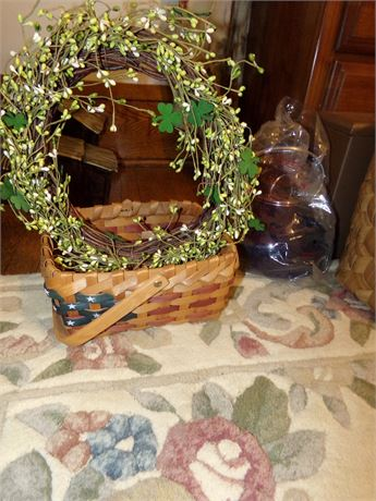 St. Patrick's Day Wreath and Flag Basket