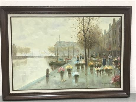 Signed Original Oil on Canvas Street Scene Painting