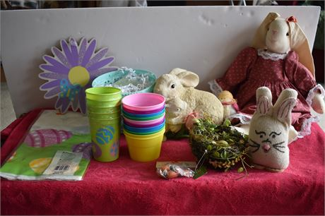 Easter Lot-Eggs, stuffed animals, wall hangings