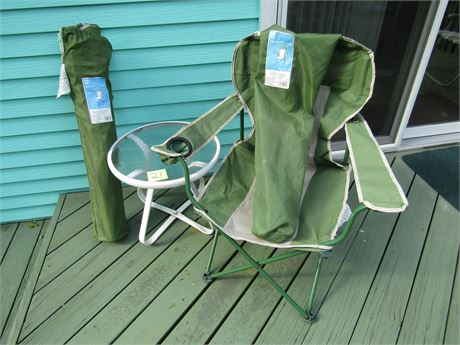 Two Deck Chairs and Table