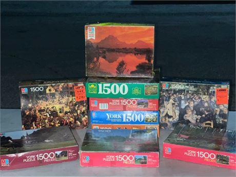 Jigsaw Puzzle Collection Group Lot Bundle