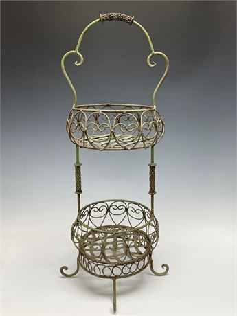 Wrought Iron Two Tier Antique Plant Stand with Original Paint