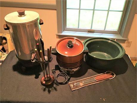 Vintage Westbend Coffee Pot, Vintage Fondue Set, and More