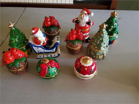 10 Porcelain Christmas Trinket Boxes