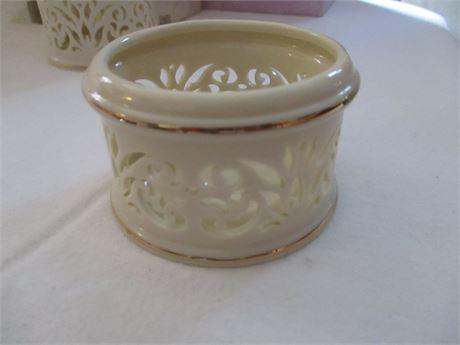 "Lenox Fine China Ivory 1 1/2"" Filigree cut Pattern Votive Candle Holder"