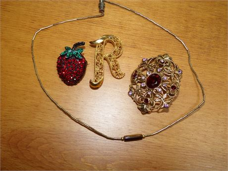 Brooches and Necklace with possible Tiger's Eye