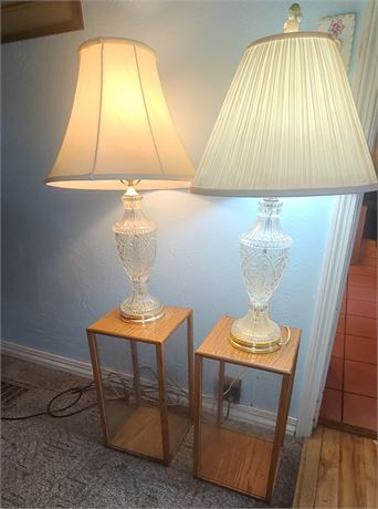 Pair of Clear Glass Lamps & Clear Cases