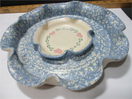 "Vintage 11"" Ceramic Chip Dip Sring Dish w/ Center Bowl"