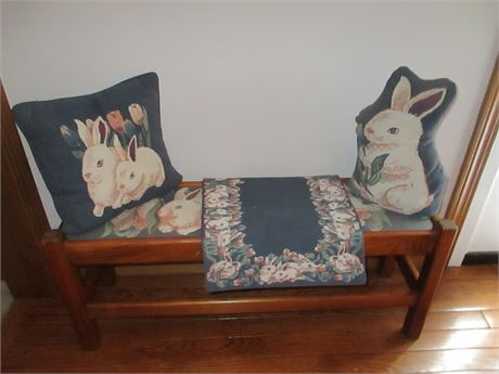 "Rabbit Bunny Themed Decorated 33"" Wood Resting Bench Village peddler"