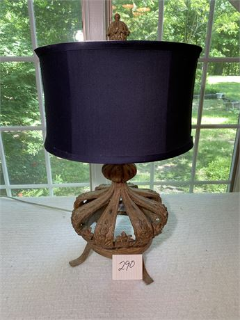 Decorative Table Lamp with Crown Shaped Base and Navy Shade