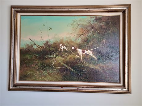 Ron Kingwood Signed Original Oil Painting of Hunting Dogs