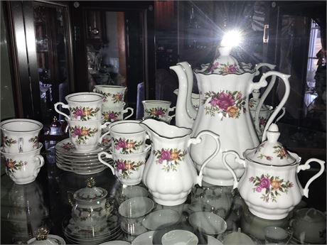 Vintage Crystal Clear Brand Porcelain Floral Tea Set