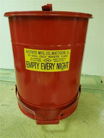 Just Rite 10 Gallon Oily Waste Can NIB
