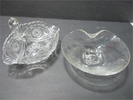 2 Vintage fancy Glass Candy Specialty pattern dishes